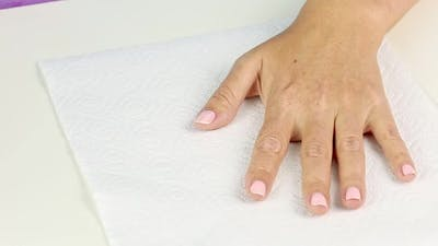 Manicure with Led Lamp in Process