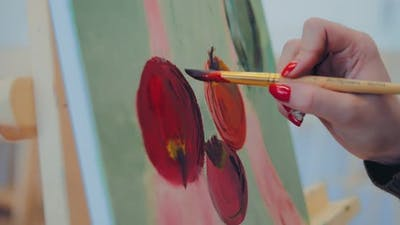 Artist Paints to Paint Apples on Canvas