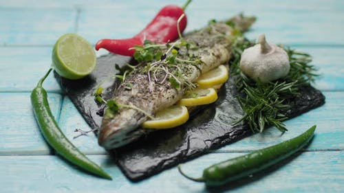 Grilled Seafish Decorating with Micro Green