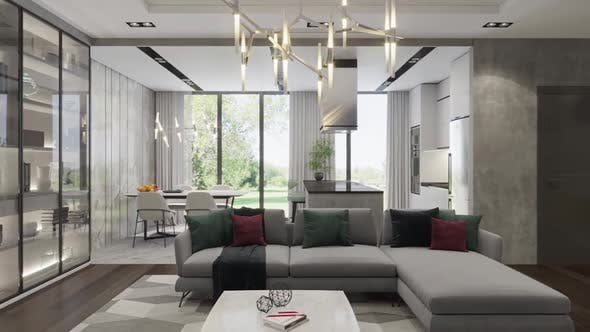 Thumbnail for 3d render. Camera span across a modern open living space with kitchen