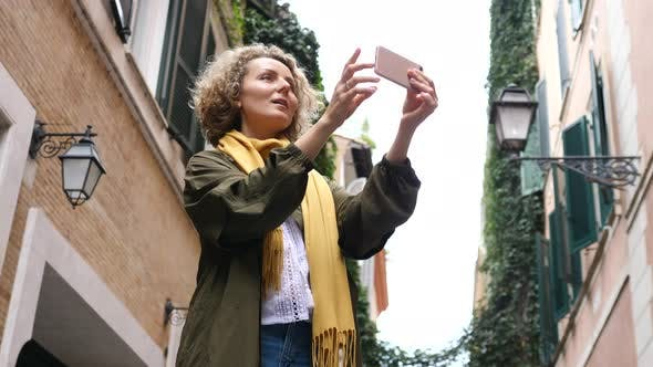 Thumbnail for Tourist Woman Taking Photo With Smartphone Sightseeing In City. Travel, People, Technology Concept