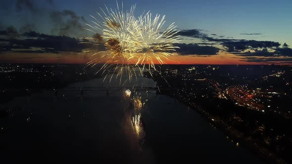 Thumbnail for Aerial Colorful Fireworks in Night City Sky Bright Holiday Celebrations Party