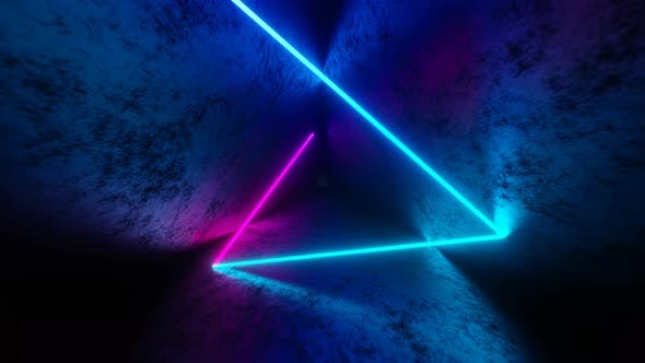 Iridescent Neon Ray Moving Inside Triangle Dark Tunnel