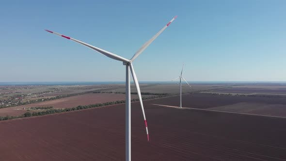 Thumbnail for Wind turbines from aerial drone view. Windmills farm for energy production.