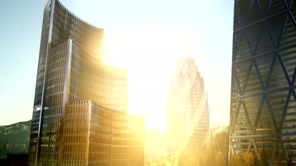 Thumbnail for City Skyscrapes with Lense Flairs at Sunset