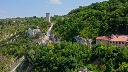 Aerial view of mountain monastery. Antique and heritage stronghold fortification on rock