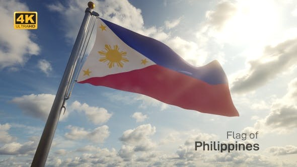 Philippines Flag on a Flagpole - 4K