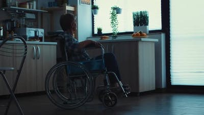 Silhouette of Depressed Handicapped Senior Woman