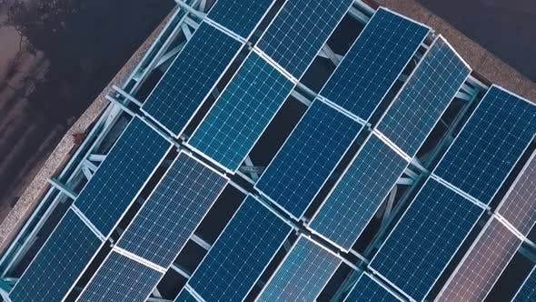 Thumbnail for Top view of innovative solar panel collections on roof