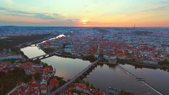 Thumbnail for View From Above on the Cityscape of Prague, Flight Over the City, Top View