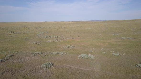 Ascending Drone of Northern Great Plains Steppe Grassland Prairie Summer