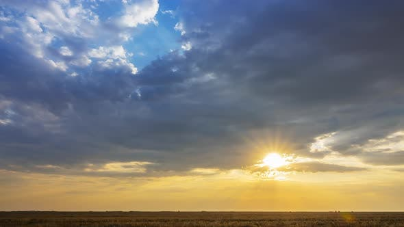 Thumbnail for Colorful Sunset Over the Summer Steppe
