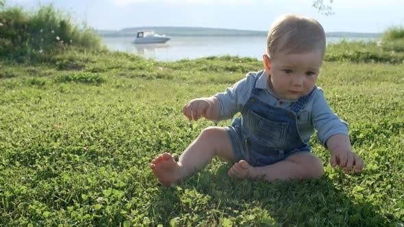 Thumbnail for Cute Baby Boy Crawling in Park
