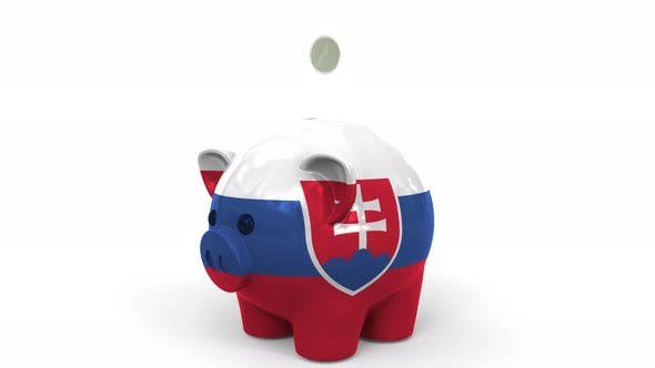 Thumbnail for Coins Fall Into Piggy Bank Painted with Flag of Slovakia
