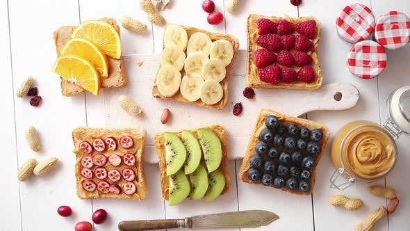 Assortment of Healthy Fresh Breakfast Toasts