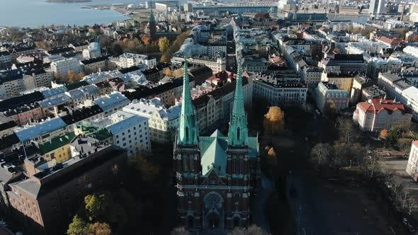 Thumbnail for Church with High Spires Near Old Buildings in Helsinki City