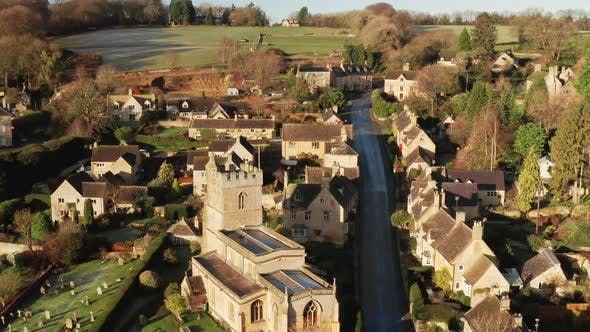 Aerial drone video of a quiet empty roads during Coronavirus Covid 19 pandemic lockdown in a Cotswol