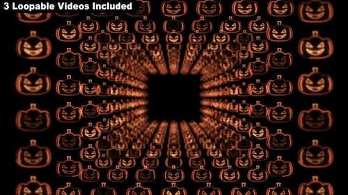 Halloween Kürbisse Neon Tunnel