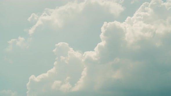 Thumbnail for Clear Sky After Big White Clouds. Moving Clouds in Horizon in Summer Sunny Clean Blue Sky