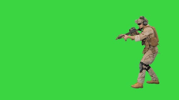 Thumbnail for Walking Ranger Aiming with Assault Rifle on a Green Screen, Chroma Key