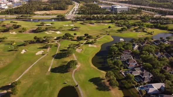 Aerial Video Jupiter Fl Neighborhoods And Golf Course Landscape 4k 30fps
