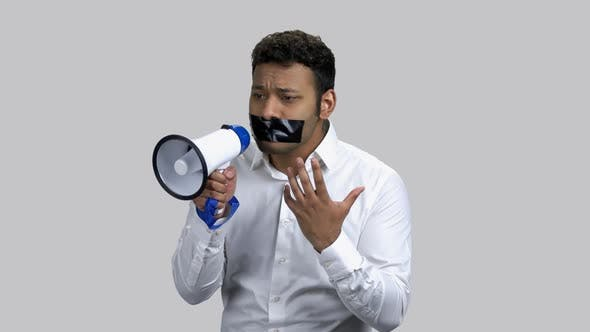 Young Censored Man with Loudspeaker