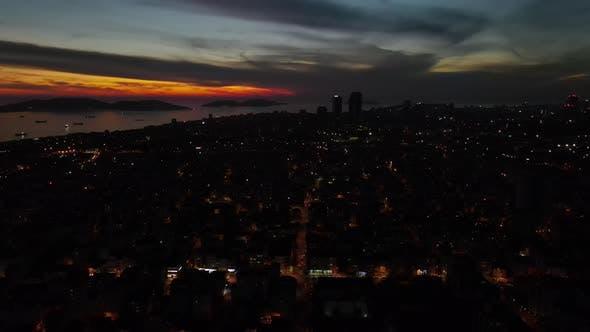 Aerial Drone Nigth Dark City View