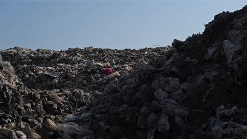 Landfill site with waste