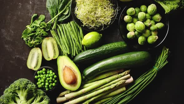 Thumbnail for Green Healthy Food Composition with Avocado, Broccoli, Apple, Smoothie...
