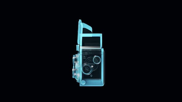 Old Filmmaking Camera Blue Hologram In Isolated Black Background Hd