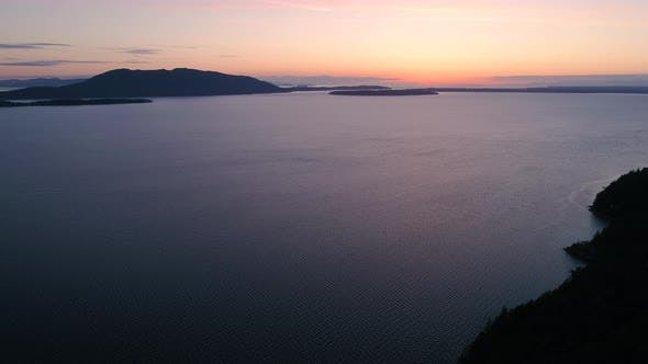 Thumbnail for Sunset Aerial Of San Juan Islands In Washington State