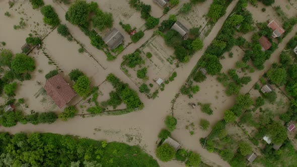 Thumbnail for Aerial Drone View. Flooded Suburbs, Houses in the Water Depiction of Flooding Mudslide. Top View