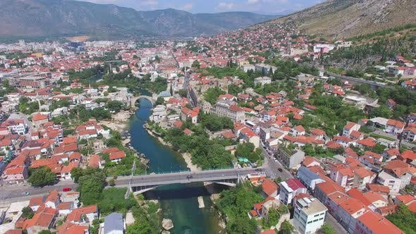 Thumbnail for Aerial view of old and modern bridge in Mostar, Bosnia and Herzegovina