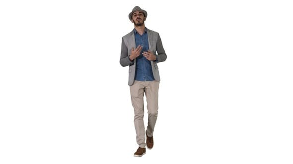 Thumbnail for Trendy stylish positive cheerful man wearing casual shirt