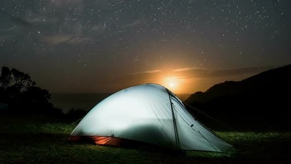Thumbnail for Night Camping in Tent under Starry Sky