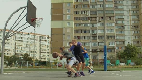 Thumbnail for Streetball Player Taking Layup Shot on Basketball Court