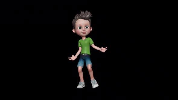 Little Boy Dancing Loop On Alpha Channel