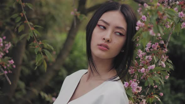 Thumbnail for Asian Woman Outdoors on Spring Against Flower Blossom