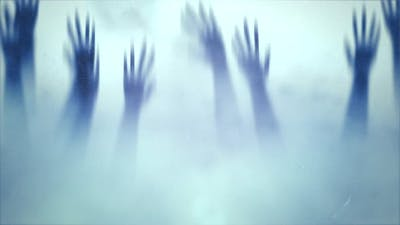 Mystical horror background with hands behind the glass