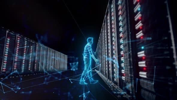 Thumbnail for Database Adminstrator Front Of Big Server V2 4k