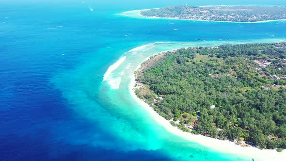 Thumbnail for Beautiful drone copy space shot of a summer white paradise sand beach and turquoise sea background i
