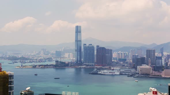 Thumbnail for Hong Kong Skyline Urban Panorama Time Lapse China. Zoom Out
