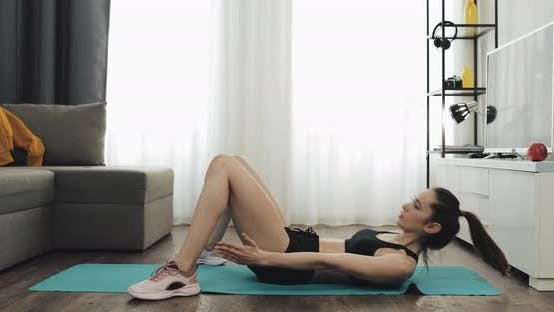 Thumbnail for Young Woman Doing Fitness Workout for Healthy Lifestyle and Strong Abdominal at Home
