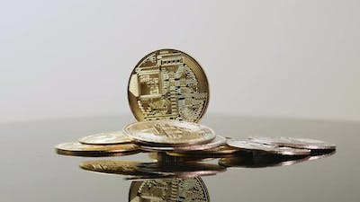 Model of golden bitcoin coin