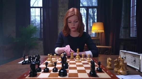 Girl Play Chess Checkmate