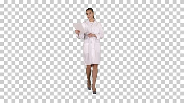 Thumbnail for Happy Female Doctor Using Tablet Computer Turning Pages
