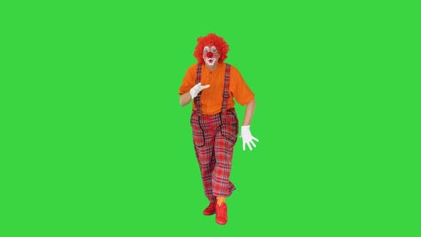 Shh Be Quiet Clown Making Silence Gesture While Walking on a Green Screen Chroma Key
