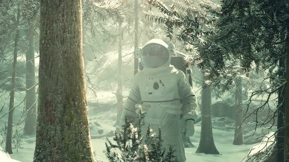 Astronaut Exploring Forest in Snow