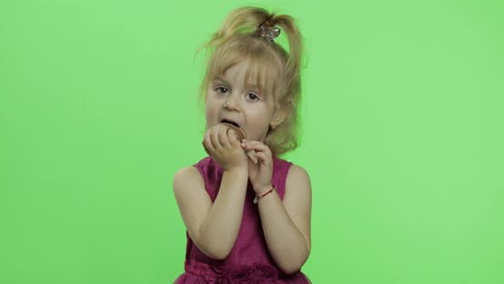Thumbnail for Girl in Purple Dress with Chocolate Egg. Happy Four Years Old Child. Chroma Key