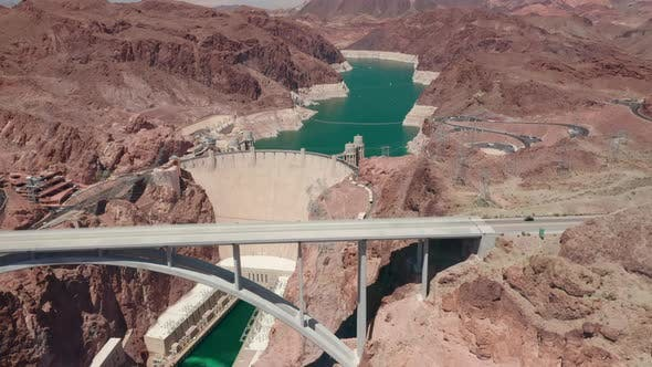 Thumbnail for Breathtaking Aerial View of the Hoover Dam and Memorial Bridge. Beautiful Mountain Landscape Around